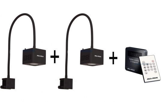 2x Aqua-Medic Qube 50 High Power LED-Spot + 1x Controller